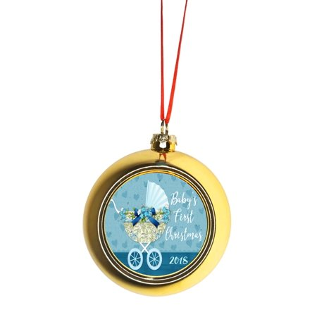 Babys First Christmas Ball (Baby's First Christmas Ornament 2019 Baby Boy Gold Bauble Christmas Ornament Ball)