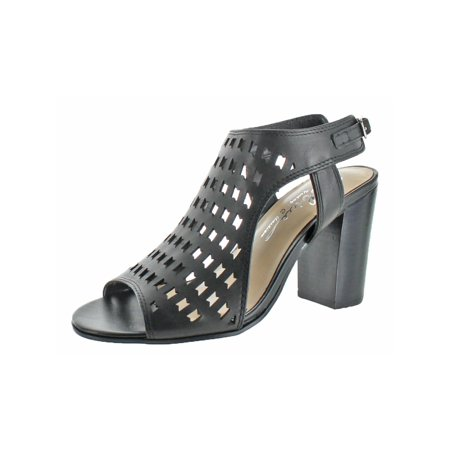 Womens Open Toe Stacked Heel Dress Sandals