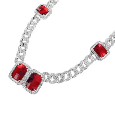 Solitaire Ruby Stone Necklace Miami Cuban Link White Gold Plate Mens 33 MM Thick by