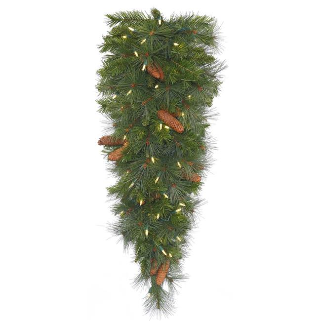 Vickerman G156406LED 36 x 18 in. Savannah Mixed Pine Tear Drop with Real Pine Cones & 50 Warm White LED Light - Pack of 6 - image 1 de 1