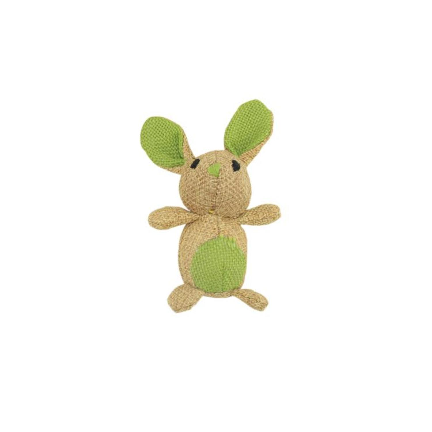 "3.5"" Brown and Green Natural Jute Mouse Shaped Cat Toy by Speedy Pet"
