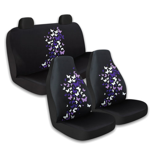 Who-Rae 3pc Front and Rear Seat Cover Kit, Butterfly Purple
