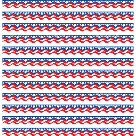 Teacher Created Resources, TCR4158, Patriotic Scalloped Border Trim, 12 / Pack, Assorted