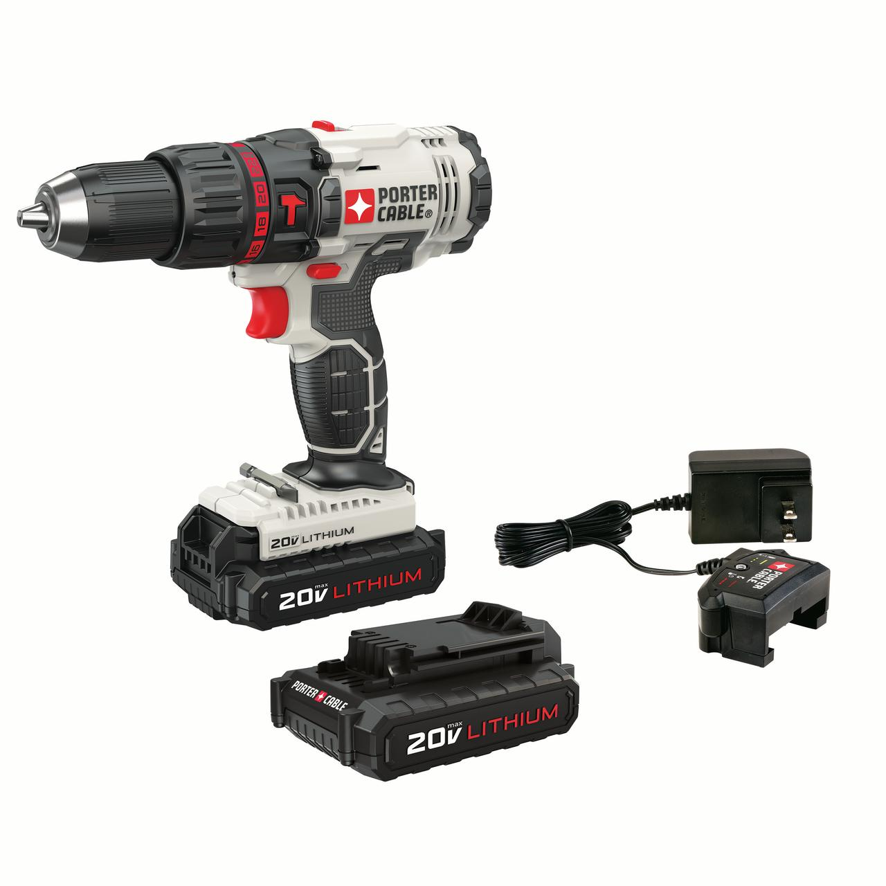PORTER CABLE 20-Volt Max 1/2-Inch Lithium-Ion Compact Cordless Hammer Drill With 2 Batteries, PCC621LB