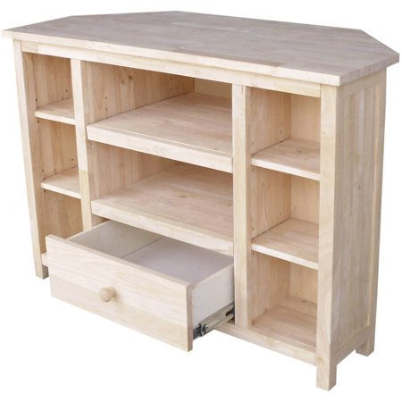 International Concepts Unfinished Corner Entertainment Tv Stand For Tvs Up To 42