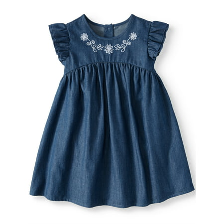 Wonder Nation Ruffle Sleeve Babydoll Dress (Toddler Girls)](Glamorous Dresses For Girls)