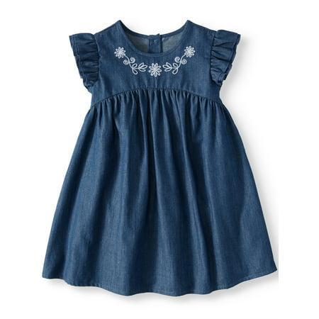 Girls 2 Piece Dress - Wonder Nation Ruffle Sleeve Babydoll Dress (Toddler Girls)