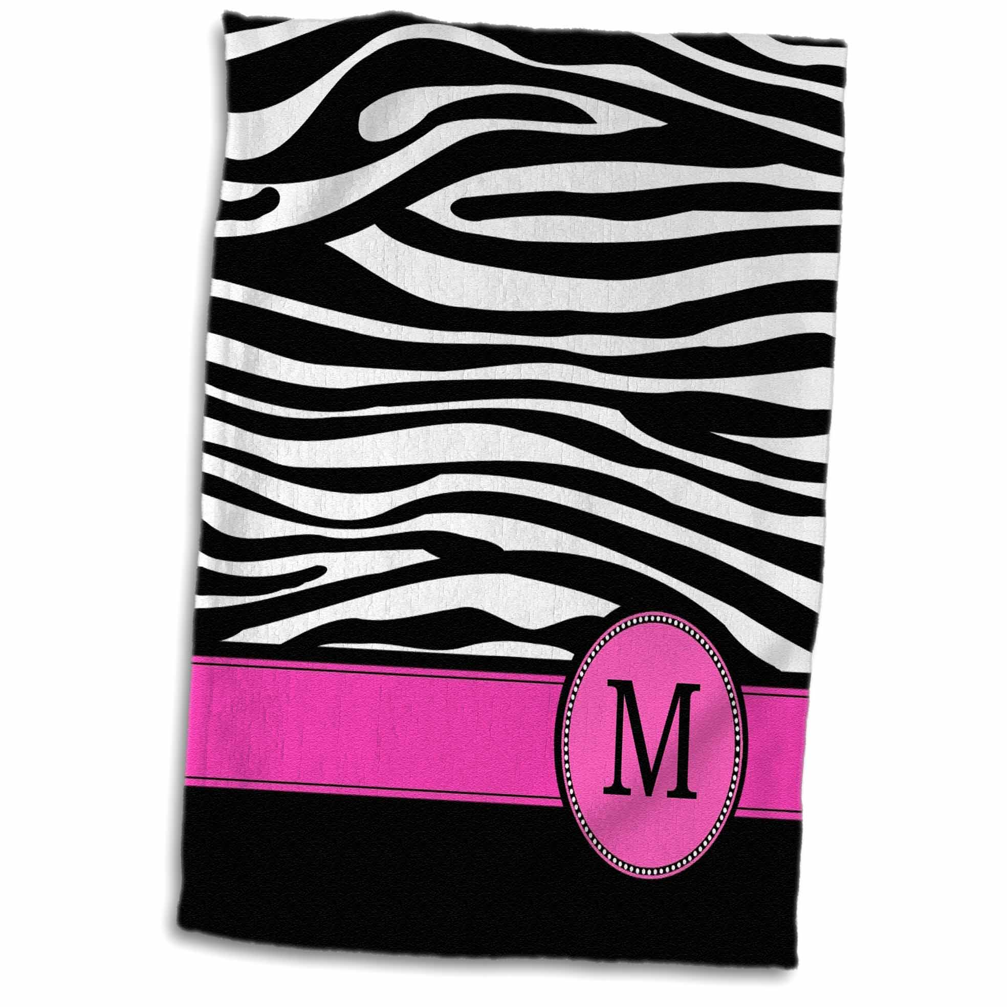 3dRose Letter M monogrammed black and white zebra stripes animal print with hot pink personalized initial - Towel, 15 by 22-inch