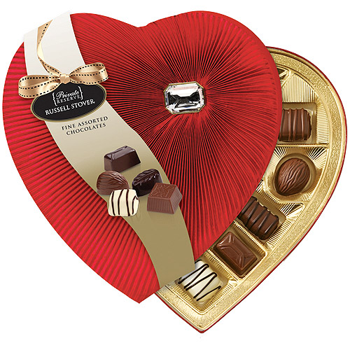 Russell Stover Assorted Chocolates Valentine's Diamond Brooch Heart Box, 8 oz