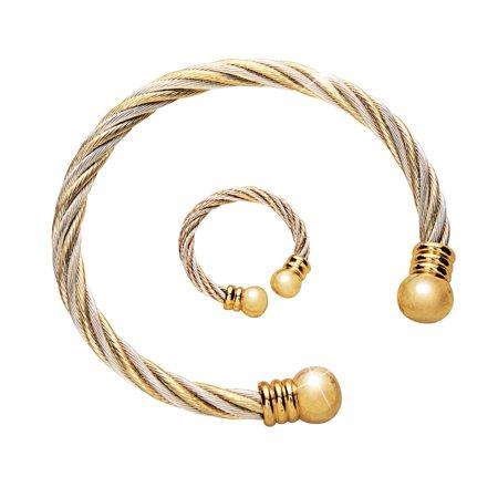 Gold Solid Jewelry Set (Women's Women's Copper and Magnetic Therapeutic Jewelry Set, Gold, Gold)