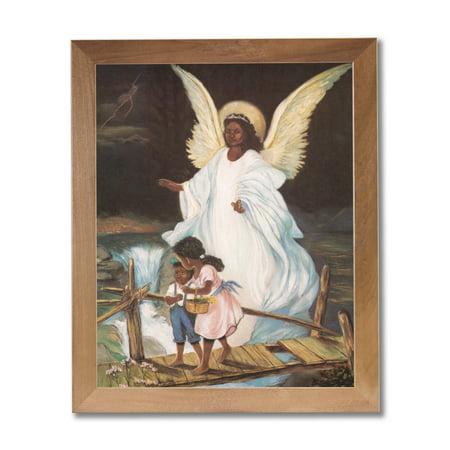 Guardian Angel Picture Frame - Honey Guardian Angel Children On Bridge Wall Picture Honey Framed Art Print