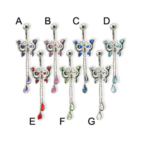Jeweled Butterfly Belly Ring With Two Dangling Teardrop Gems Green F