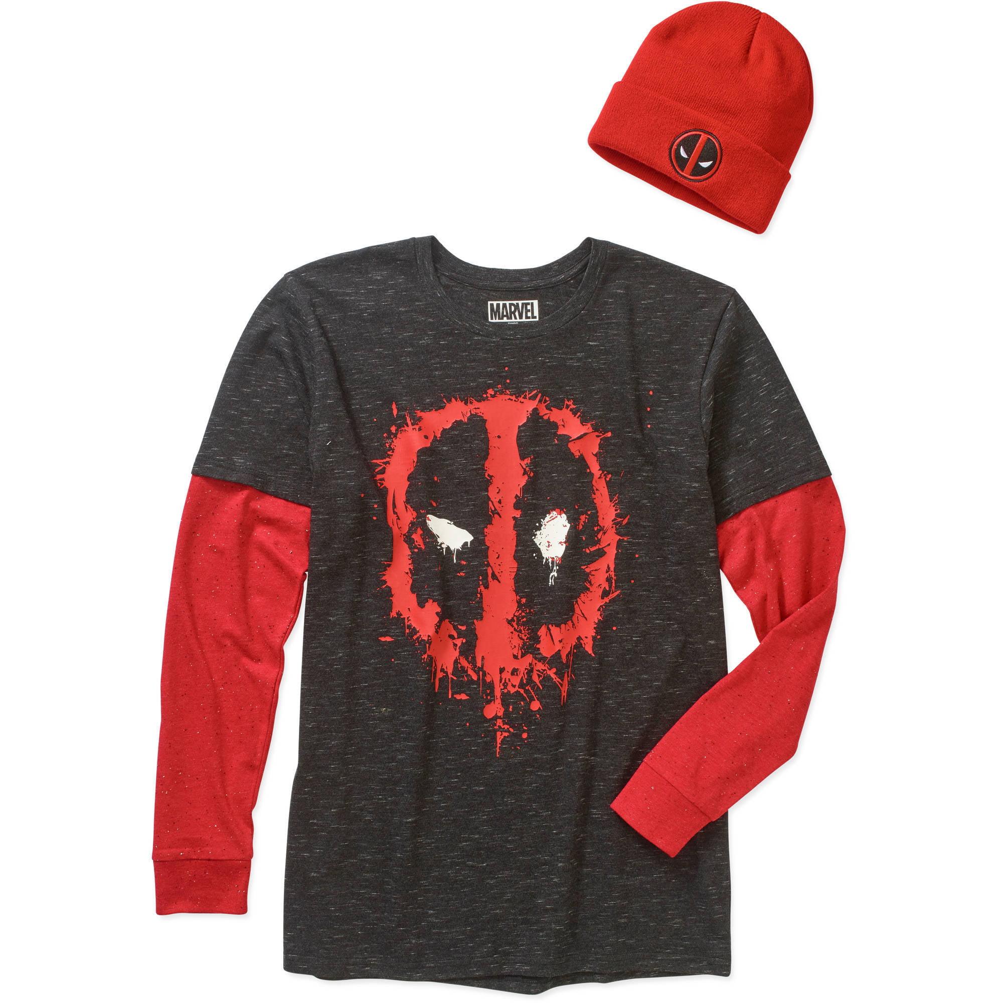Deadpool Men's Shirt & Beanie Combo
