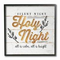 Stupell Industries Silent Night Holy Night Gold Christmas Holiday Word DesignFramed Wall Art By Artist Jennifer Pugh