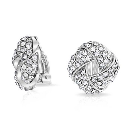 Woven White Clear Crystal Love Knot Work Clip On Earrings For Women Non Pierced Ears Silver Plated Brass