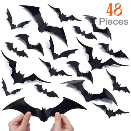 Russian Halloween Party Brooklyn (48 pcs Halloween Party Supplies PVC 3D Decorative Scary Bats Wall Decal Wall Sticker, Halloween Eve Decor Home Window Decoration)