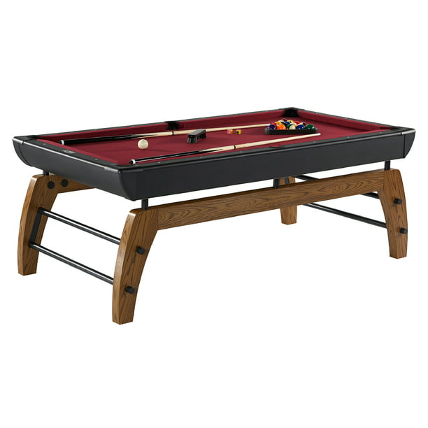 "Hall of Games Edgewood 84"" Billiard Pool Table, Accessories Included, Indoor, Black/Red"