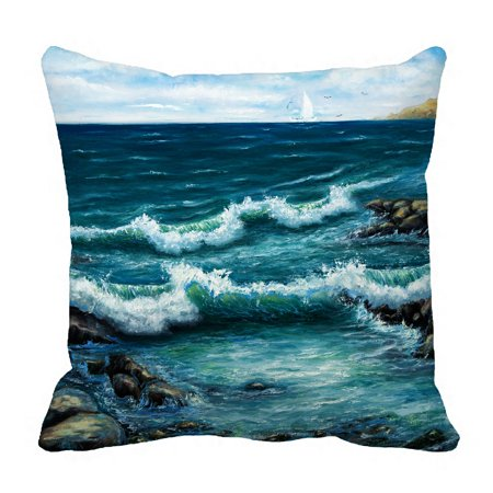 PHFZK Ocean Pillow Case, Oil Painting Sea Wave and Ship Boat Pillowcase Throw Pillow Cushion Cover Two Sides Size 18x18 inches