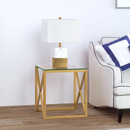 Dixon Geometric X-Base Metal & Glass Side Table in Golden Brass Finish ()