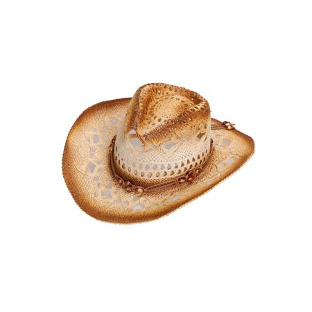 Men / Women's Summer Woven Straw Cowboy Hat, 2826_Brown