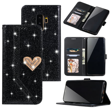 Galaxy S9 Case, Allytech PU Leather Glitter Folio Flip Stand Bumper Magnetic Closure Cards Money Holder Dust Proof Protective Soft TPU Back Cover Wallet Case for Samsung Galaxy S9, Black