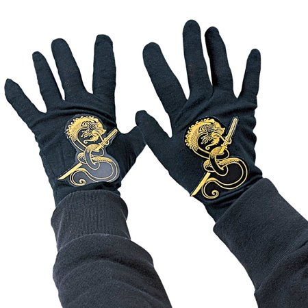 Samurai Costumes For Kids (Ninja Child Black Gloves, Black ninja gloves with dragon and samurai sword decal By Rubies Costumes)