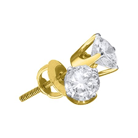 14K Yellow Gold 0.75ctw Fancy 6 Prong Round Diamond Fashion Stud Earring 14k White Gold Six Prong