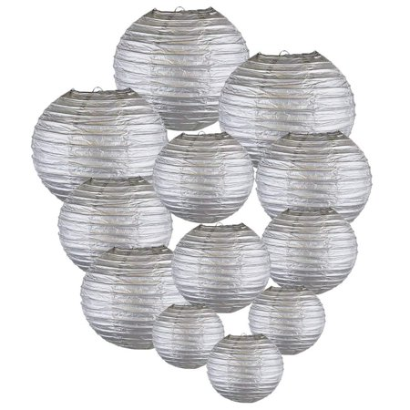 Just Artifacts Decorative Round Chinese Paper Lanterns 12pcs Assorted Sizes (Color: Silver) - Blue Lantern Ring For Sale