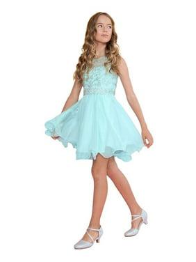 73281510152 Product Image Calla Collection Girls Aqua Jewel Short Special Occasion  Tween Dress