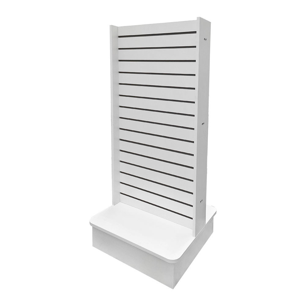 Double-Sided Slatwall Knockdown Displays Floor Stand White 25x25x54