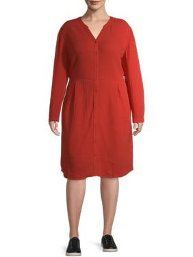 Terra & Sky Women's Plus Size Long Sleeve Button Up Dress