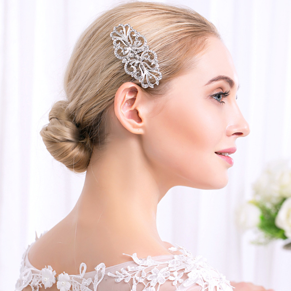 HiCoup Elegant Symmetrical Hair Comb Wedding Rhinestone Hairpin Clip Bridal Headwear