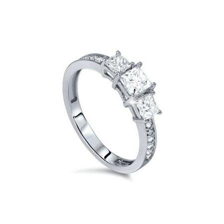 1 1/4ct Three-Stone Princess Cut Diamond Engagement Ring Solid 14K White Gold 14ct Princess Cut Diamond