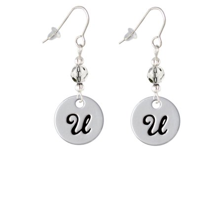 large script letter u 3 4 disc clear bead french earrings