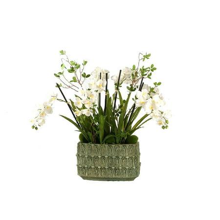 D Silks Cream Vanda Orchids In Rectangle Ceramic Planter