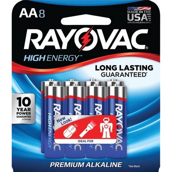Rayovac Alkaline Multi-Pack AA Batteries, 8-pack