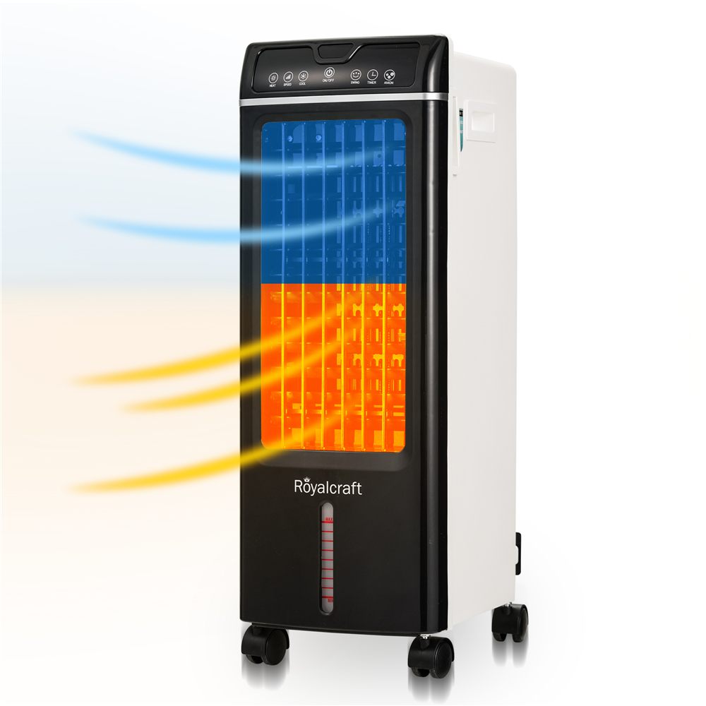 HEYNEMO Air Cooler and Heater 3 Fan Speed 7 Timer Setting with Cooler//Heater//Humidifier//Purify Function Evaporative Air Cooler Portable Air Conditioner with Remote Control and LED Display