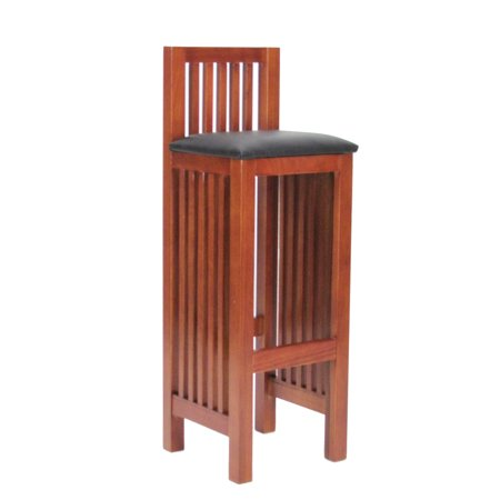 Mission Style Wooden Barstool with Slatted Back and Sides, Oak Brown Oak Traditional Mission Style Bar