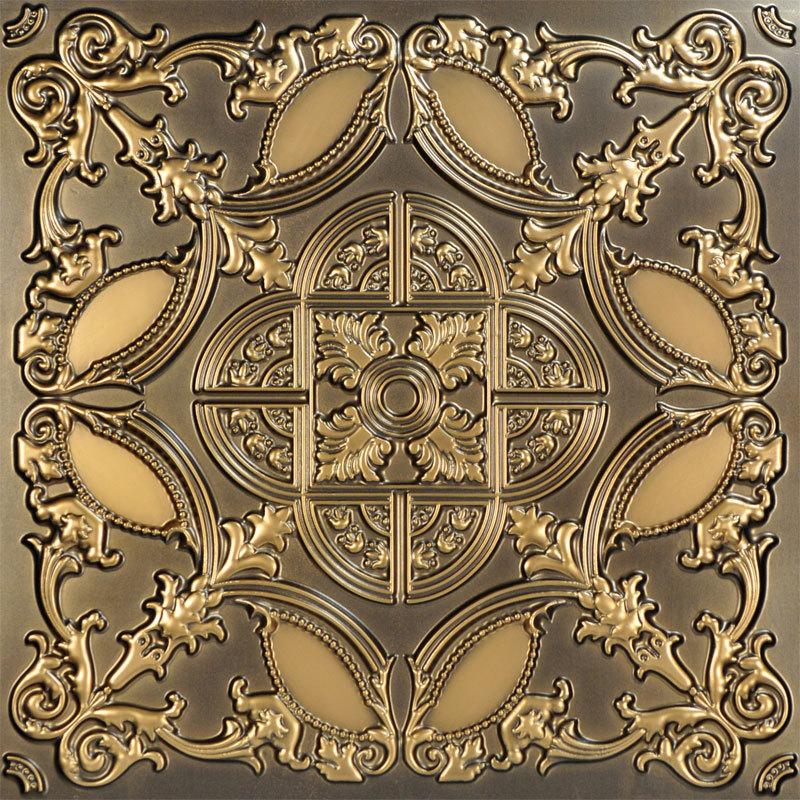 Golden Prague 2 ft. x 2 ft. PVC Glue-up Ceiling Tile in Antique Gold
