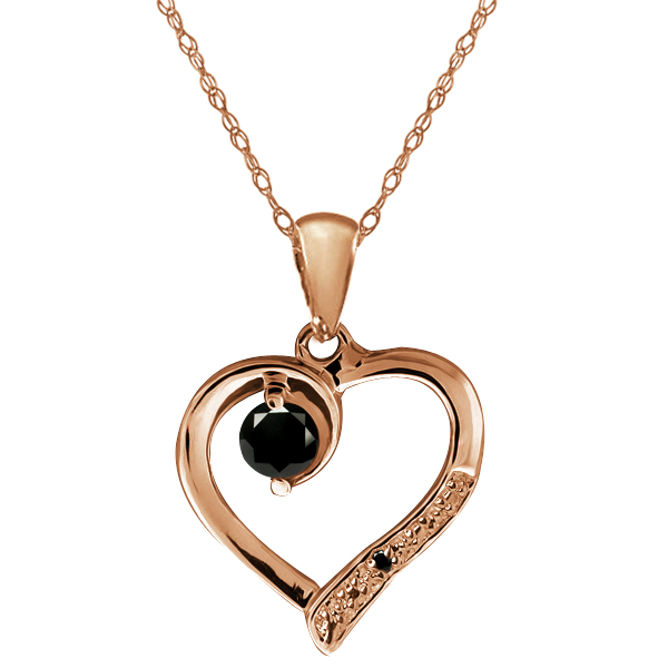 Black Diamond Gemstone Gold Plated Sterling Silver Heart Pendant with Chain