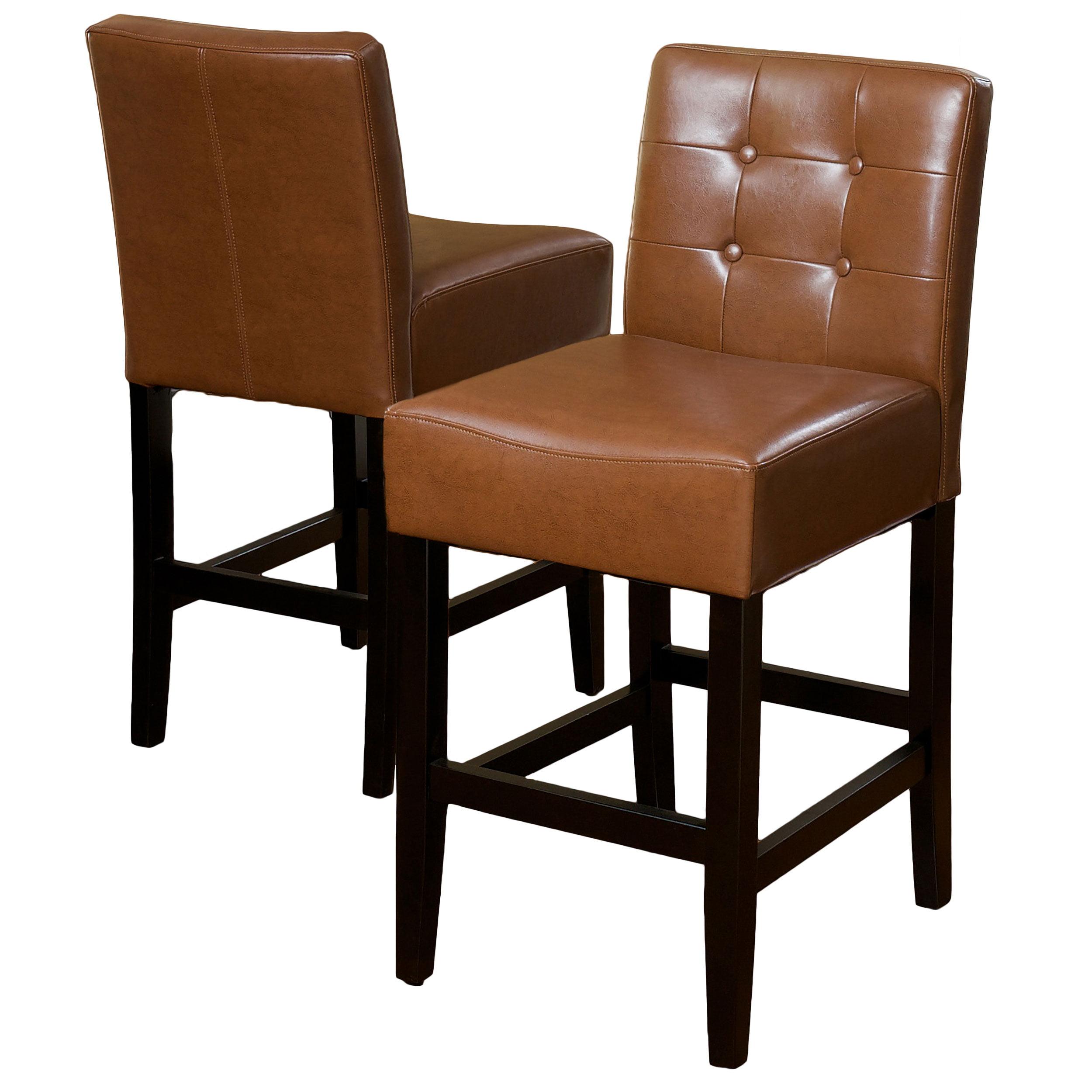 Taft Tufted Hazelnut Bonded Leather Counter Stools Set Of 2