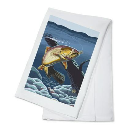 Cutthroat Trout - Lantern Press Artwork (100% Cotton Kitchen Towel)](Cutthroat Kitchen Halloween)