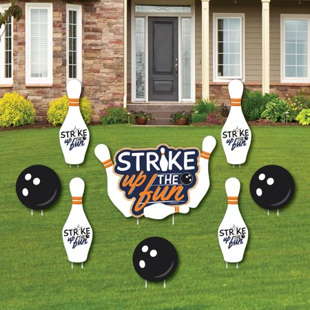 Strike Up the Fun - Bowling - Yard Sign & Outdoor Lawn Decorations - Birthday Party or Baby Shower Yard Signs - Set of 8 - Baby Shower Yard Sign