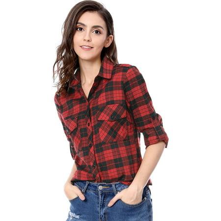 Women Checks Roll Up Sleeves Flap Pockets Flannel Plaid Shirt Black,red XL (US