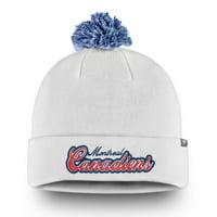 Montreal Canadiens Fanatics Branded Women's Team Dazzle Cuffed Knit Hat with Pom - White - OSFA