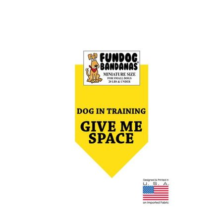 MINI Fun Dog Bandana - Dog in Training Give Me Space - Miniature Size for Small Dogs under 20 lbs, gold pet scarf