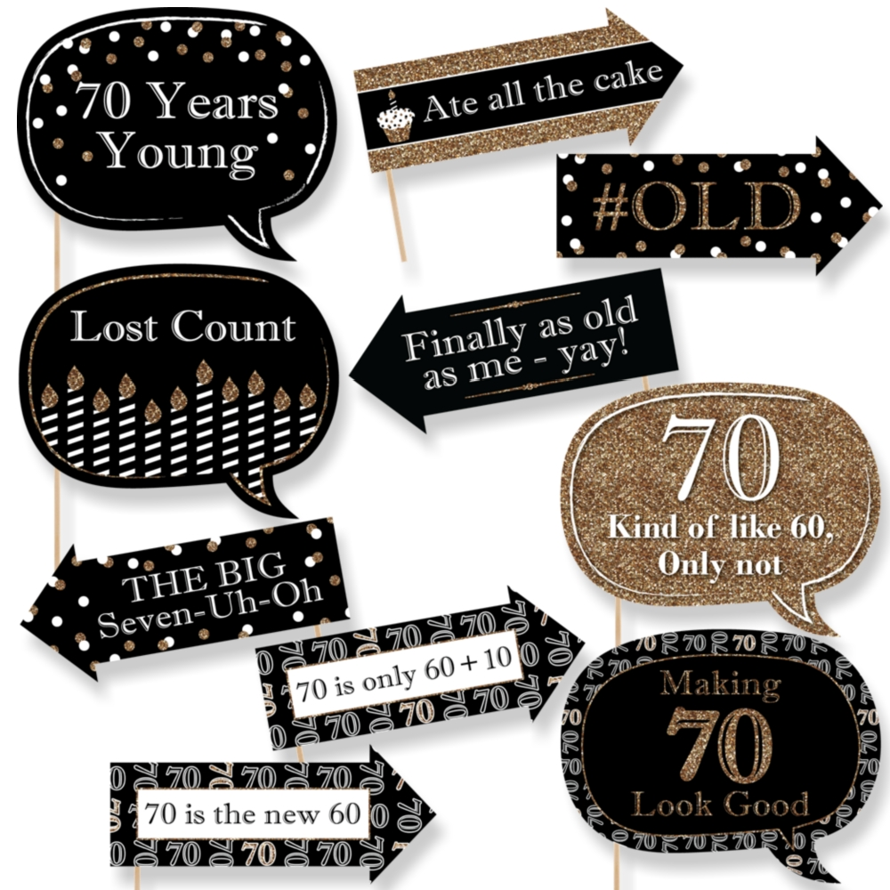 Funny Adult 70th Birthday - Gold - Birthday Party Photo Booth Props Kit - 10 Count  sc 1 st  Walmart & 70TH Birthday Decorations