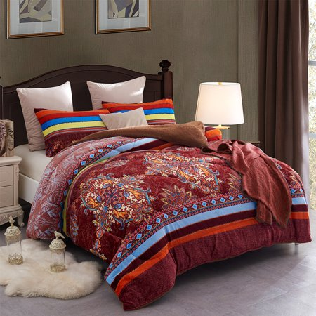 Heavy Sherpa Fleece Bed Blanket and Pillowcase Set, Queen Brown Red ()