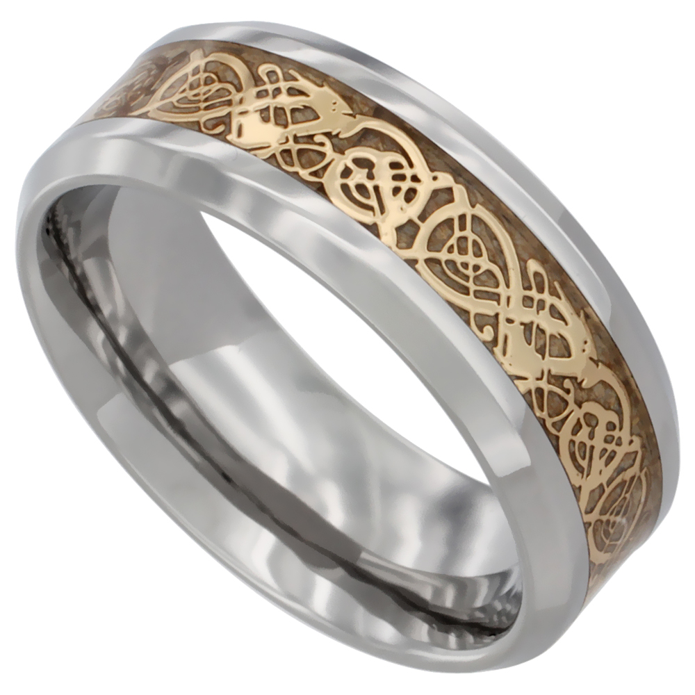Surgical Steel Celtic Dragon Wedding Band Ring Gold Color 8mm Comfort Fit Sizes 8 12 With Half