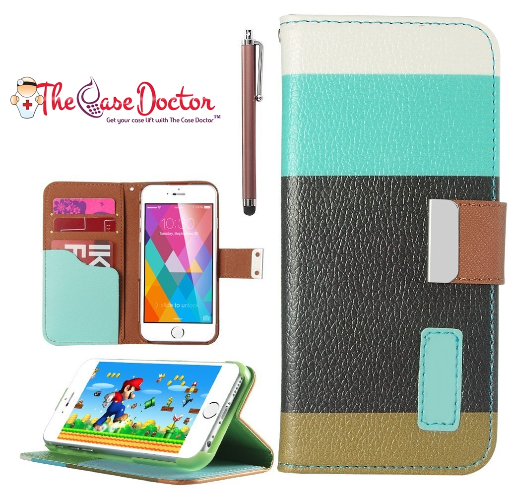TCD iPhone 6 6S PLUS Colorful PU Leather Wallet + Screen Protector & Stylus Pen